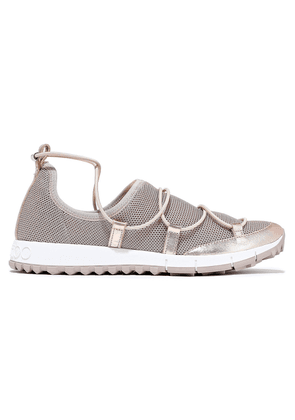 Jimmy Choo Andrea Metallic Leather-trimmed Stretch-mesh Sneakers Woman Antique rose Size 34