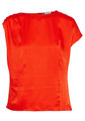 Lanvin Pleated Hammered Silk-satin Blouse Woman Bright orange Size 36