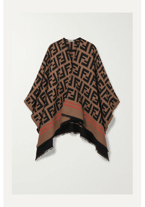 Fendi - Frayed Wool And Silk-blend Jacquard Poncho - Camel