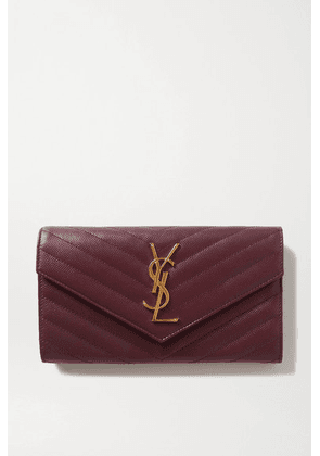SAINT LAURENT - Quilted Textured-leather Wallet - Burgundy