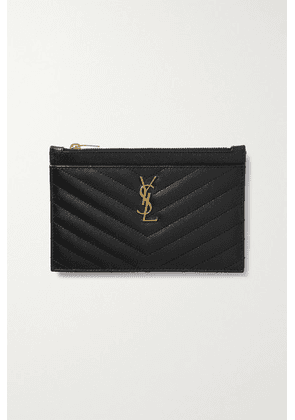 SAINT LAURENT - Monogram Quilted Textured-leather Wallet - Black