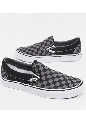 Vans Classic Slip on checkerboard trainers in black and grey