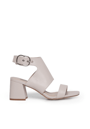 Miss Selfridge cut out block heeled sandals in white