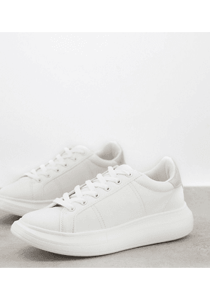 Yours lace up platform trainer in white