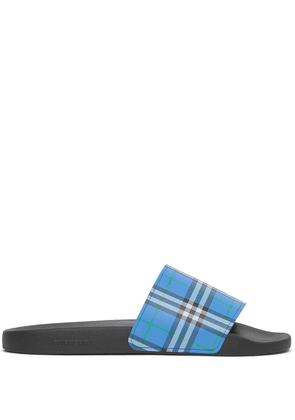 Burberry check-print slip-on slides - Blue