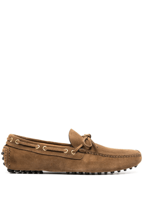 Car Shoe lace-detailed driving shoes - Brown
