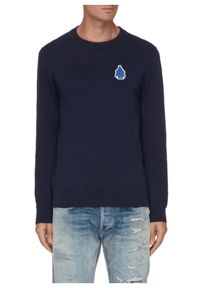 Blue Blob Monster Embroidered Patch Cotton Blend Sweatshirt
