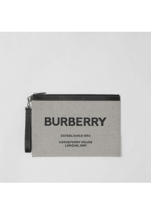 Burberry Large Horseferry Print Canvas and Leather Zip Pouch, Black