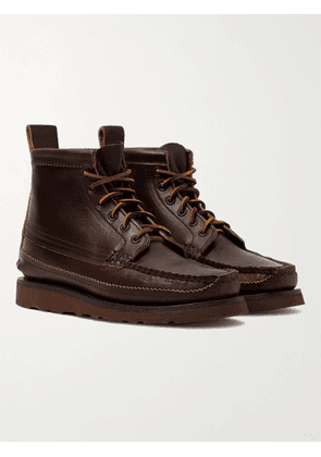 YUKETEN - Maine Guide 6 Eye Smooth and Full-Grain Leather Boots - Men - Brown