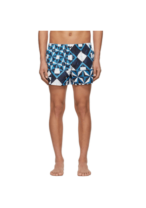 Dolce and Gabbana Blue Geometric Print Swim Shorts