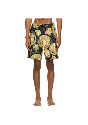 Versace Underwear Black and Gold Medusa Amplified Print Swim Shorts