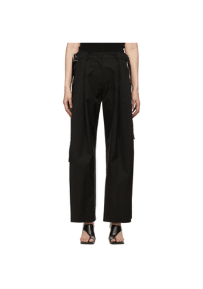 System Black Oversized Pleated Trousers