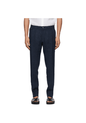 Dolce and Gabbana Navy Linen Trousers