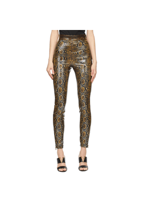 Versace Brown Shiny Snake Trousers