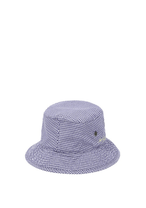 Acne Studios - Logo-embroidered Check Canvas Bucket Hat - Mens - Navy