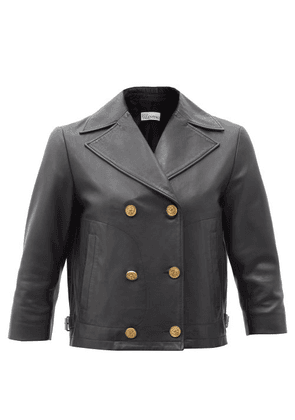 REDValentino - Cropped Double-breasted Leather Jacket - Womens - Black