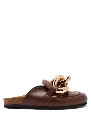 JW Anderson - Chain Backless Leather Loafers - Mens - Brown