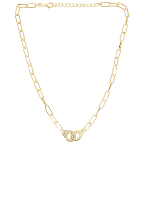 Adina's Jewels Handcuff Link Necklace in Metallic Gold.