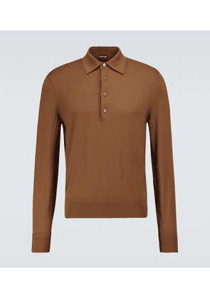 Wool long-sleeved polo shirt