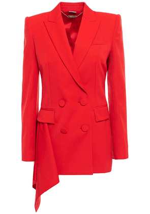 Alexander Mcqueen Double-breasted Draped Wool-crepe Blazer Woman Tomato red Size 38