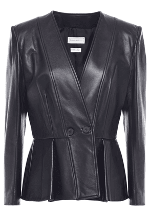 Alexander Mcqueen Double-breasted Leather Peplum Jacket Woman Black Size 36