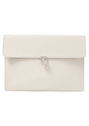 Alexander Mcqueen Embellished Textured-leather Envelope Clutch Woman Ivory Size --