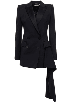 Alexander Mcqueen Asymmetric Double-breasted Satin-trimmed Wool-blend Crepe Blazer Woman Black Size 40