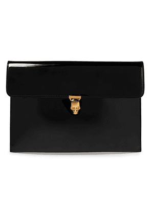 Alexander Mcqueen Skull Patent-leather Clutch Woman Black Size --