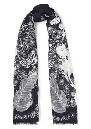 Alexander Mcqueen Printed Modal And Wool-blend Scarf Woman Black Size --