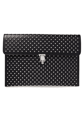 Alexander Mcqueen Skull Studded Leather Clutch Woman Black Size --