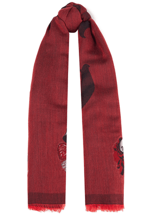 Alexander Mcqueen Frayed Metallic Wool-blend Jacquard Scarf Woman Red Size --