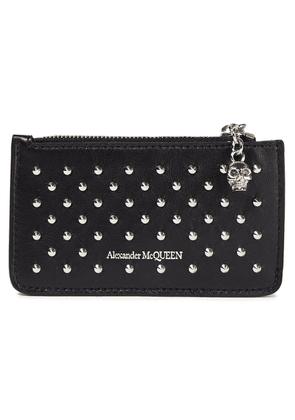 Alexander Mcqueen Studded Leather Cardholder Woman Black Size --