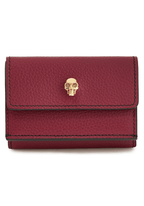 Alexander Mcqueen Skull Embellished Pebbled-leather Wallet Woman Burgundy Size --