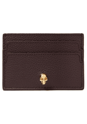 Alexander Mcqueen Skull Embellished Pebbled-leather Cardholder Woman Burgundy Size --