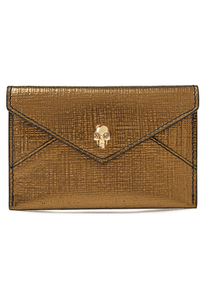 Alexander Mcqueen Skull Embellished Metallic Textured-leather Cardholder Woman Bronze Size --