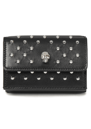 Alexander Mcqueen Skull Studded Leather Wallet Woman Black Size --