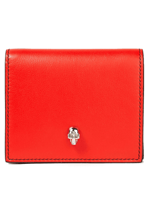 Alexander Mcqueen Skull Embellished Leather Wallet Woman Tomato red Size --
