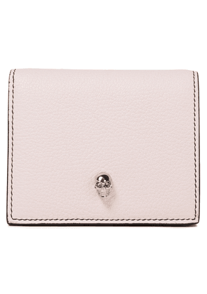 Alexander Mcqueen Skull Embellished Pebbled-leather Wallet Woman Baby pink Size --