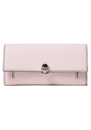 Alexander Mcqueen Skull Embellished Pebbled-leather Continental Wallet Woman Baby pink Size --