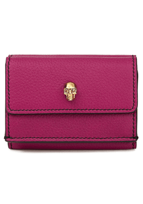 Alexander Mcqueen Skull Embellished Pebbled-leather Wallet Woman Violet Size --