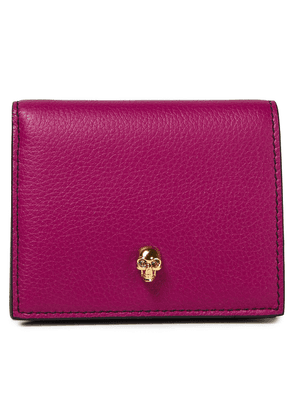 Alexander Mcqueen Skull Embellished Pebbled-leather Wallet Woman Magenta Size --