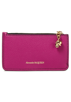Alexander Mcqueen Embellished Pebbled-leather Cardholder Woman Magenta Size --