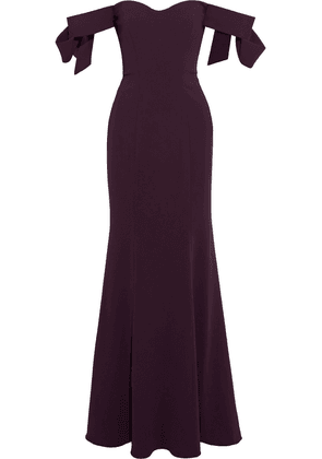 Badgley Mischka Off-the-shoulder Bow-embellished Stretch-crepe Gown Woman Purple Size 6