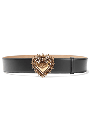 Dolce & Gabbana Devotion Embellished Leather Belt Woman Black Size 90