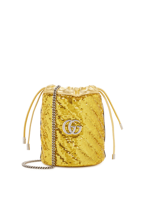 Gucci GG Marmont Mini Gold Sequin Bucket Bag