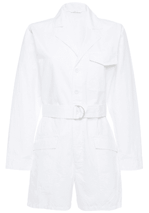 J Brand Belted Cotton And Linen-blend Playsuit Woman White Size XS