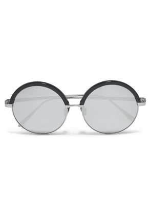 Linda Farrow Round-frame Gunmetal-tone And Acetate Mirrored Sunglasses Woman Silver Size --