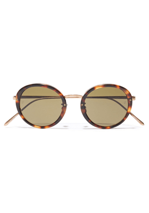 Linda Farrow Round-frame Rose Gold-tone And Tortoiseshell Acetate Sunglasses Woman Brown Size --