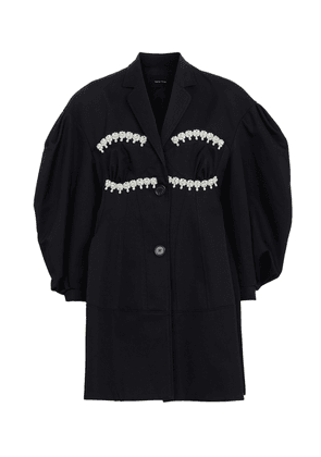 Faux pearl-embellished cotton coat