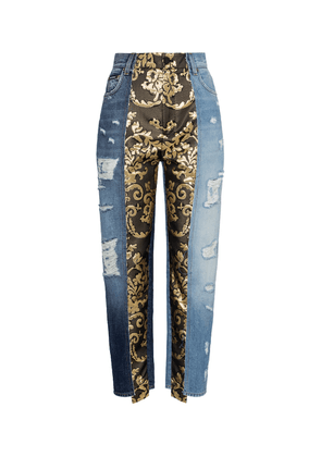 High-rise brocade straight jeans